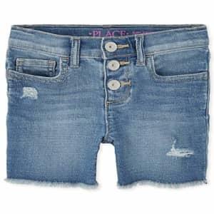 The Children's Place Girls' Denim Shorts, REFLECTBLUE WSH, 6X/7S for $16