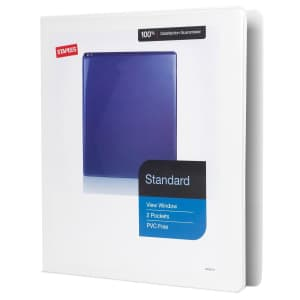 """Staples Standard 1"""" 3-Ring View Binder for $2"""