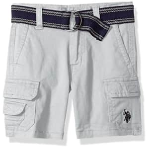 U.S. Polo Assn. Boys' Little Short, Belted Cotton Stretch Twill Light Grey, 7 for $13
