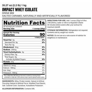 Myprotein Impact Whey Isolate Protein Powder, Salted Caramel, 2.2 Lb (40 Servings) for $42