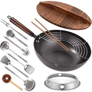 KBT 13-Piece Carbon Steel Wok and Accessories for $35