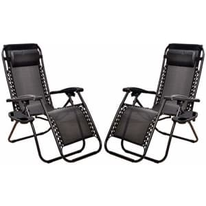 BalanceFrom Adjustable Zero Gravity Lounge Chair Recliners for Patio, Black for $100