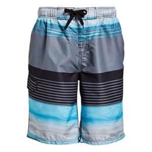 Kanu Surf Men's Legacy Swim Trunks (Regular & Extended Sizes), Moonbeam Black/Aqua, X-Large for $20