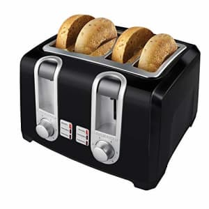Black + Decker BLACK+DECKER T4569B 4-Slice Toaster, Bagel Toaster, Black for $46