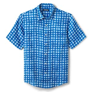 Lands' End Men's Traditional Fit Short Sleeve Linen Shirt for $9