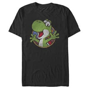 Nintendo Men's Super Mario Yoshi Color Fade Circle Logo T-Shirt, Black, x-Large for $15