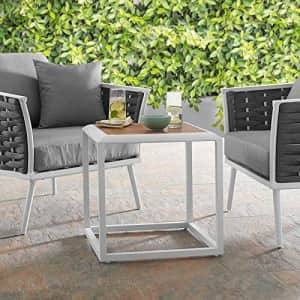 Modway Stance Outdoor Patio Contemporary Modern Wood Grain Aluminum Accent Side Table In White for $160