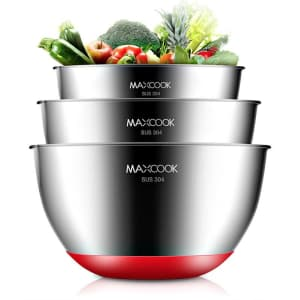 Maxcook 3-Piece Stainless Steel Salad Bowl Set for $28