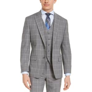 Michael Kors Men's Classic-Fit Airsoft Stretch Gray Plaid Wool Suit Jacket for $45