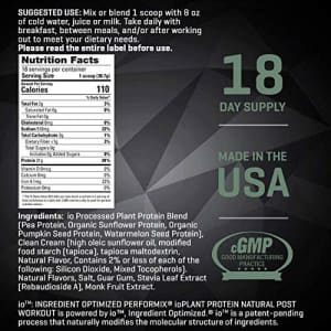 Performix Post Workout Plant-Based Protein Powder - 18 Servings - Includes Pea, Pumpkin, Sunflower for $23