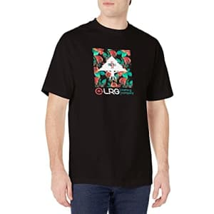 LRG Men's Short Sleeve Logo Design T-Shirt, Black/Flowers, S for $13