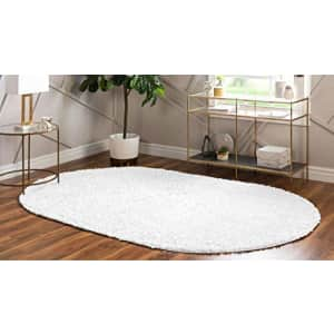 Unique Loom Davos Shag Collection Contemporary Soft Cozy Solid Shag Ivory Oval Rug (3' 3 x 5' 3) for $41
