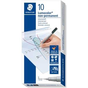 Staedtler Lumocolor Non-Permanent Super-Fine Marker 10-Pack for $9