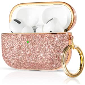 KINGXBAR Glitter Leather Keychain Case for AirPods Pro for $6