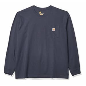 Carhartt Men's Plus Relaxed Fit Heavyweight Long-Sleeve Pocket Logo Graphic T-Shirt, Bluestone, 18 S for $19