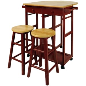 Casual Home Solid Wood Drop-Leaf Breakfast Cart w/ 2 Stools for $110