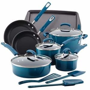 Rachael Ray Brights Nonstick Cookware Pots and Pans Set, 14 Piece, Marine Blue for $202
