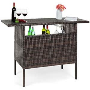 Best Choice Products Outdoor Patio Wicker Bar Counter Table Backyard Furniture w/ 2 Steel Shelves for $190