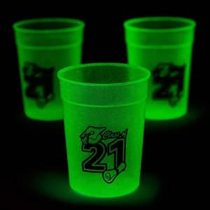 Fun Express Class of 2021 Glow-in-the-Dark Plastic Cups - Set of 12, each holds 8 oz - Graduation Party Supplies for $16