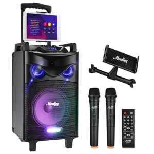 """Moukey Bluetooth Karaoke Machine / PA System with 10"""" Subwoofer for $152"""