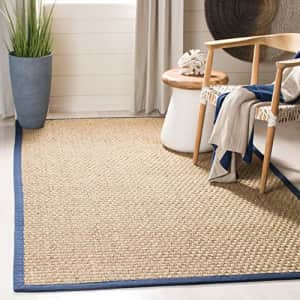 Safavieh Natural Fiber Collection NF114E Border Basketweave Seagrass Accent Rug, 2' x 3', Blue for $12