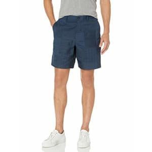 Billy Reid Men's Standard Fit Textured Chino Shorts, Navy Madras, 38 for $117