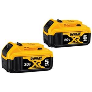 DeWalt 20V Max 5Ah Battery 2-Pack for $110