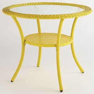 BrylaneHome Roma All-Weather Resin Wicker Bistro Table Patio Furniture, Lemon for $202