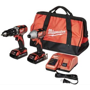 Milwaukee 2697-22CT M18 18-Volt Lithium-Ion Cordless Hammer Drill/Impact Driver Combo Kit for $222