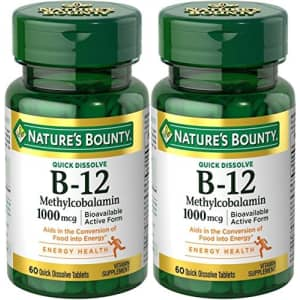 Nature's Bounty Natures Bounty Methylcobalamin B12 Microlozenge Tablets, 1000 mcg, 120 Count (2 X 60 Count Bottles) for $38