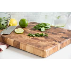 "Ironwood Charleston 14"" x 14"" Acacia Wood End Grain Chef's Board for $38"