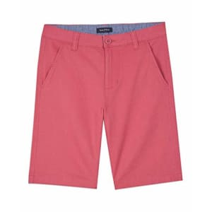 Nautica Boys' Stretch Twill Flat Front Shorts, Rose, 5 for $16