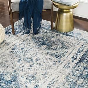 "Artistic Weavers Desta Blue/White Area Rug, 6'7"" x 9' for $57"