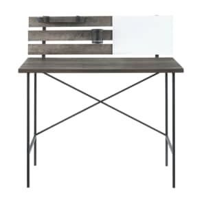 "Welwick Designs 42"" Slat-Back Writing Desk w/ Storage for $120"