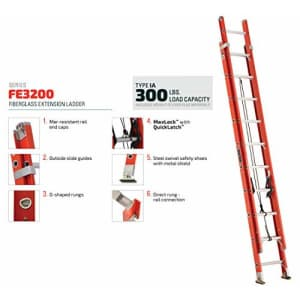 Louisville Ladder FE3216 Fiberglass Extension Ladder 300-Pound Capacity, 16-foot, Type IA for $267