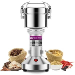 OKF Electric Stainless Steel Grain Grinder for $42