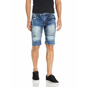 Southpole Men's Denim Shorts with Destructed Ripped and Repaired, Medium Sand Blue/Stretch Mojito, for $23