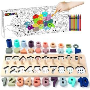 Bekilole Kids' Wooden Number Puzzle Set for $9