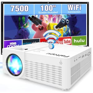 """Faltopu Portable WiFi Projector with 100"""" Screen for $60"""