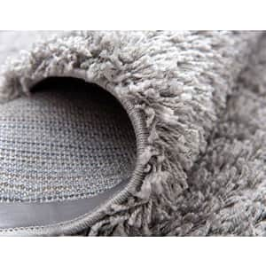 Unique Loom Solo Solid Shag Collection Modern Plush Cloud Gray Runner Rug (2' 6 x 13' 0) for $61