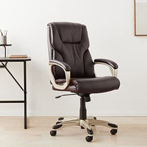 Amazon Basics High-Back Executive, Swivel, Adjustable Office Desk Chair with Casters, Brown Bonded for $137