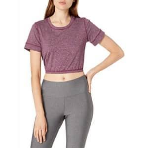 Splendid Women's Studio Activewear Workout Athletic Short Sleeve Crop Top, Potent Purple, M for $47