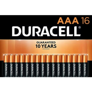Duracell CopperTop AAA Alkaline Batteries 16-Pack for $13