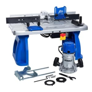 """Kobalt 1/4"""" and 1/2"""" Fixed Corded Router with Table for $129"""