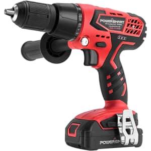 """PowerSmart 20V 1/2"""" Cordless Drill Driver Kit for $70"""