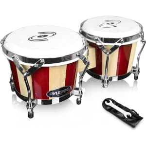 Pyle Handcrafted Bongo Drums for $60