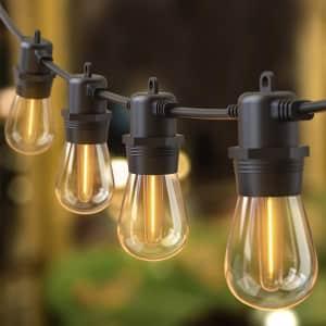 Quntis 53-Foot LED Outdoor String Lights for $16