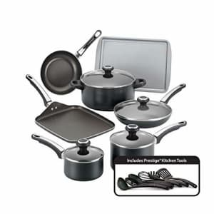 Farberware High Performance Nonstick Cookware Pots and Pans Set Dishwasher Safe, 17 Piece, Black for $90