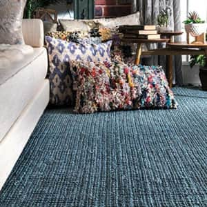 nuLOOM Natura Collection Chunky Loop Jute Area Rug, 3' x 5', Blue for $99