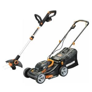 "Worx 2x20V 17"" Cordless Lawn Mower + GT 12"" Cordless Trimmer/Edger for $260"